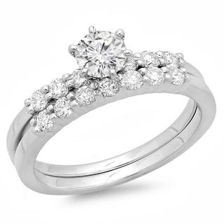 14k White Gold 1ct TDW Round Diamond Bridal Set (H-I, I1-I2)
