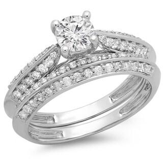 14k White Gold 1ct TDW Round Cut Diamond Bridal Set (H-I, I1-I2)