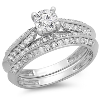 14k White Gold 1ct TDW Round Cut Diamond Bridal Set (H-I, I1-I2)