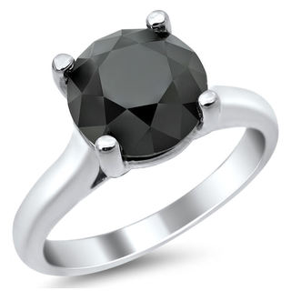 14k White Gold 2 1/2ct Certified Black Round Diamond Solitaire Ring
