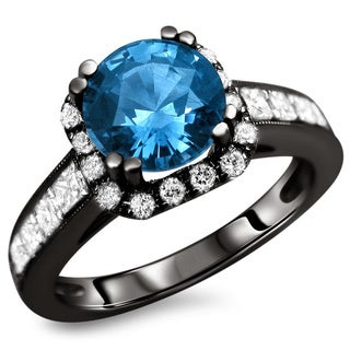 18k Black Gold 2 1/3ct TDW Blue Sapphire and Diamond Ring