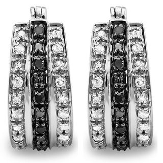 Sterling Silver 1/3ct TDW Black and White Diamond Hoop Earrings (I-J, I2-I3)