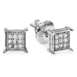 Sterling Silver 1/10ct TDW Diamond Square Hip Hop Stud Earrings (I-J, I2-I3)