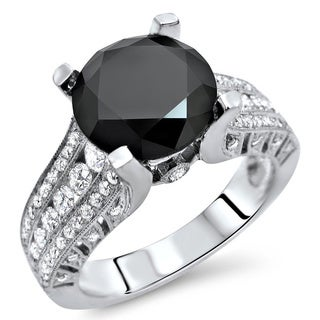 Noori 18k White Gold 3 7/8ct TDW Certified Black Round Diamond Engagement Ring (E-F, VS1-VS2)