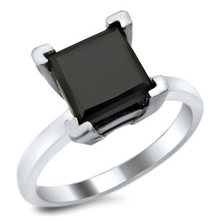 14k White Gold 1 & 4/5ct TDW Certified Black Diamond Princess-cut Solitaire Ring