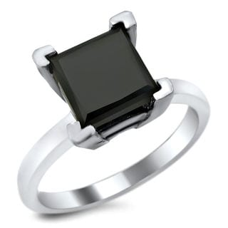 Noori 14k White Gold 1 & 4/5ct TDW Certified Black Diamond Princess-cut Solitaire Ring