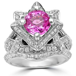 14k White Gold 2.75ct TDW Certified Round Pink Sapphire Lotus Flower Diamond Engagement Ring (G, SI-1)