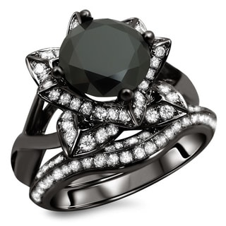 Noori 14k Black Gold 3ct TDW Certified Black Round Diamond Lotus Flower Ring Set (G-H, SI1-SI2)