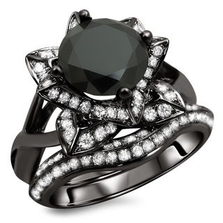 14k Black Gold 3ct TDW Certified Black Round Diamond Lotus Flower Ring Set (G-H, SI1-SI2)