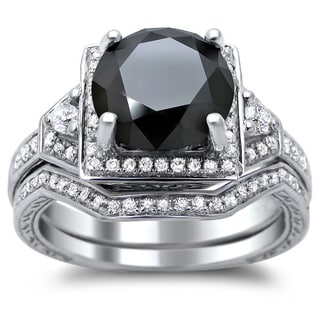 14k White Gold 3ct TDW Certified Black and White Round Diamond Bridal Set (G-H, SI1-SI2)