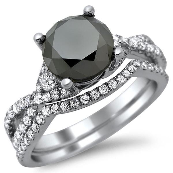 Noori 18k White Gold 2 4 5ct Certified Black and White Diamond Bridal Set E