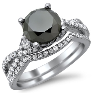 18k White Gold 2 4/5ct Certified Black and White Diamond Bridal Set (E-F, VS1-VS2)