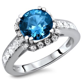 18k White Gold 1 5/6ct TDW Certified Blue Sapphire and Diamond Ring (F-G, VS1-VS2)