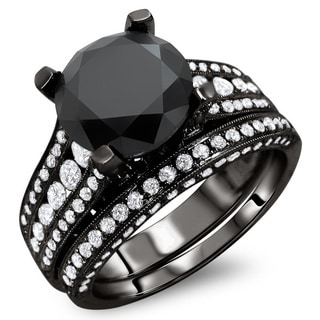 18k Black Gold 4 3/5ct TDW Black and White Round Diamond Bridal Set