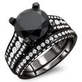 18k Black Gold 4 3/5ct TDW Certified Black and White Round Diamond Bridal Set (E-F, VS1-VS2)