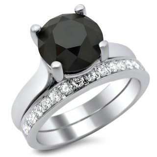 14k White Gold 3ct Certified Black and White Diamond Solitaire Bridal Set (F-G, VS1-VS2)