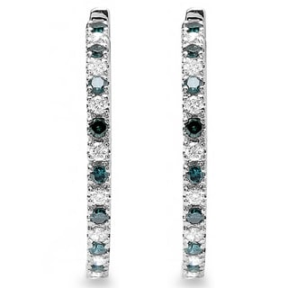 10k White Gold 1/2ct TDW Blue and White Diamond Hoop Earrings (H-I, I1-I2)