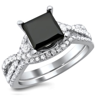 Noori 18k White Gold 2 1/3ct Certified Black and White Princess Cut Diamond Bridal Set (E-F, VS1-VS2)
