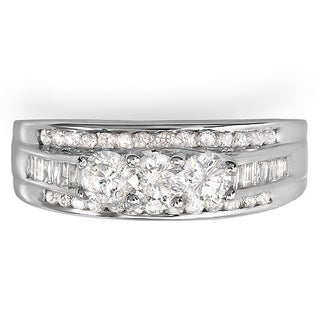 14k White Gold 1 1/6ct TDW Round & Baguette Cut Diamond Ring (H-I, I1-I2)