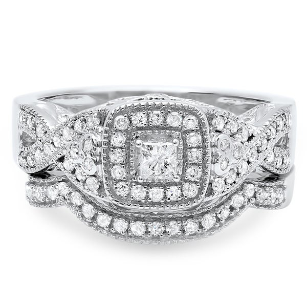 14k White Gold 3/5ct TDW Princess Cut Braided Diamond Bridal Set (H-I, I1-I2)