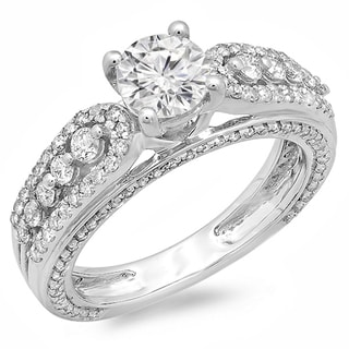 14k White Gold 1 3/4ct TDW Vintage Style Engagement Ring (H-I, I1-I2)