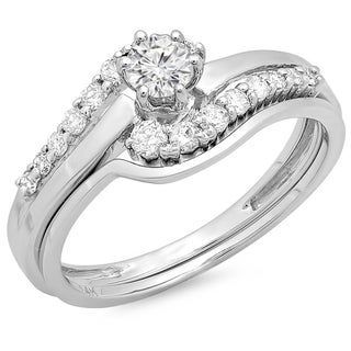 14k White Gold 1/2ct TDW Round Diamond Twist Engagement Ring (H-I, I1-I2)