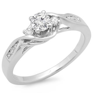 14k White Gold 1/2ct TDW Round Diamond Swirl Promise Ring (H-I, I1-I2)