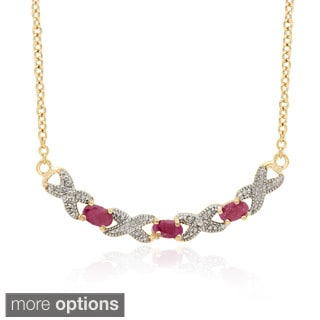 Dolce Giavonna 14k Gold Overlay Gemstone XOXO Necklace