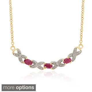 Dolce Giavonna Gold Overlay Gemstone XOXO Necklace