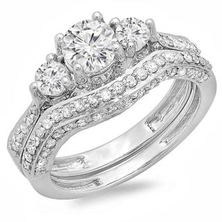 14k White Gold 1 3/4ct TDW Round Diamond Three-Stone Bridal Set (H-I, I1-I2)