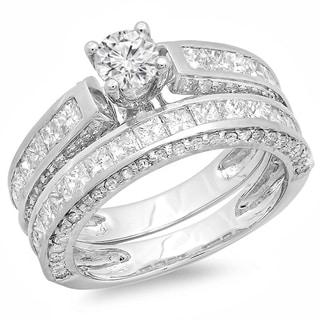 14k White Gold 3ct TDW Diamond Bridal Set (H-I, I1-I2)