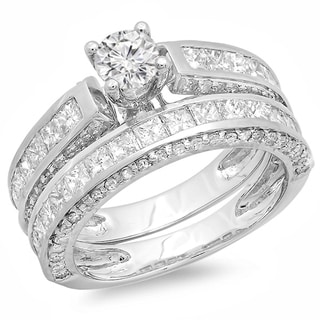 14k White Gold 3ct TDW Diamond Bridal Set (H-I, I1-I2)