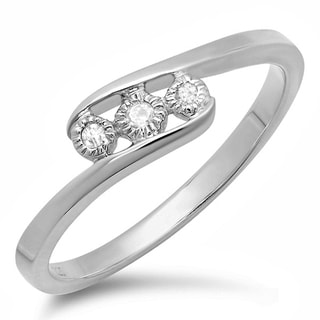 Sterling Silver Diamond Accent Three-Stone Illusion Set Promise Ring