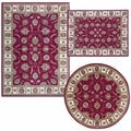 Persian Floral Collection Rust/ Almond/ Pink Rugs (Set of 3)
