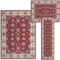 Persian Floral Collection Rust Latex-free Rugs (Set of 3)