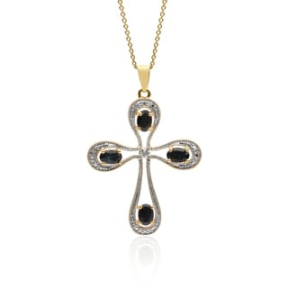 Dolce Giavonna 18k Gold Over Sterling Silver Gemstone Diamond Accent Cross Necklace (I-J, I2-I3)