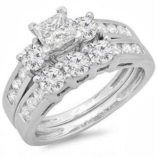 14k White Gold 2ct TDW Diamond Bridal Set (J-K, I1-I2)