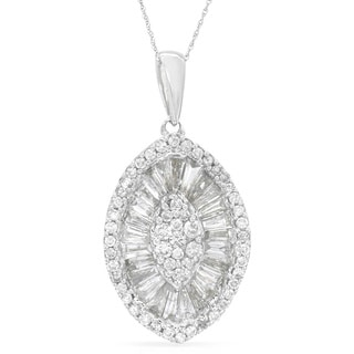 14k White Gold 1 3/4ct TDW Baguette and Round-Cut Diamond Necklace
