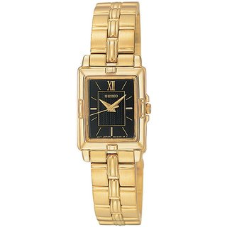 Seiko Women's Black Dial Gold-Tone Stainless Steel Watch