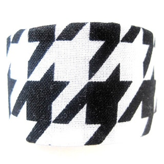 Black and White Houndstooth Ponytail Hair Clip