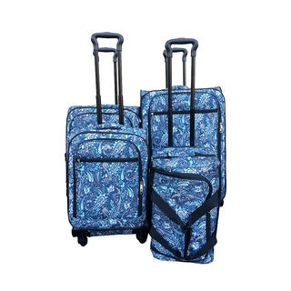 Jourdan Blue Paisley 4-piece Spinner Luggage Set
