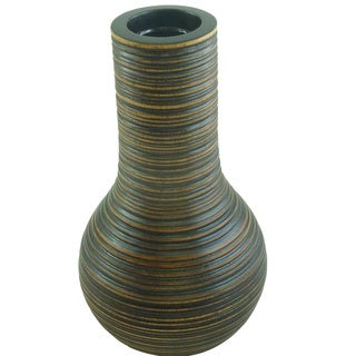 Mango Wood Grooved Bulb Vase and Glass Liner (Thailand)