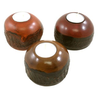 Set of 3 Mango Wood Round Bark Candle Holder (Thailand)