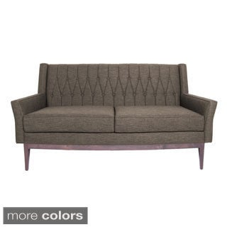 inncdesign Lola' Mid-century Purple Quilted Love Seat