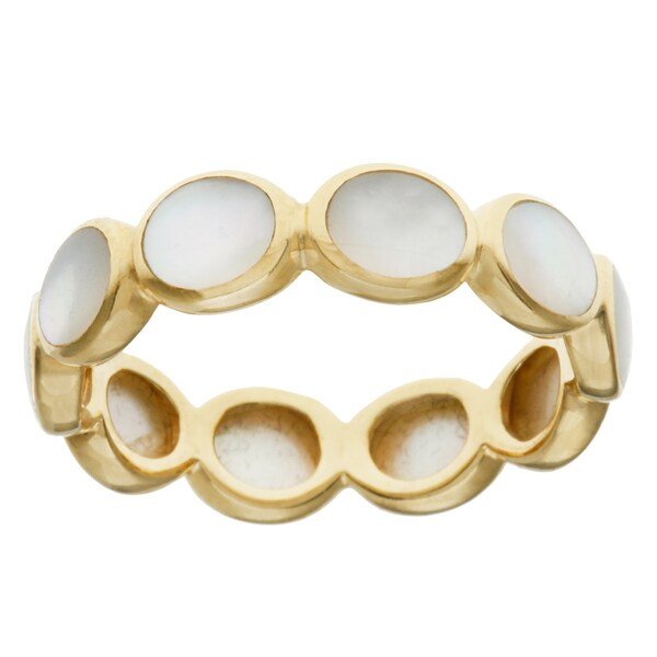 Pre-owned Ippolita 18k Yellow Gold Oval Mother of Pearl Polished Rock Candy Band Ring
