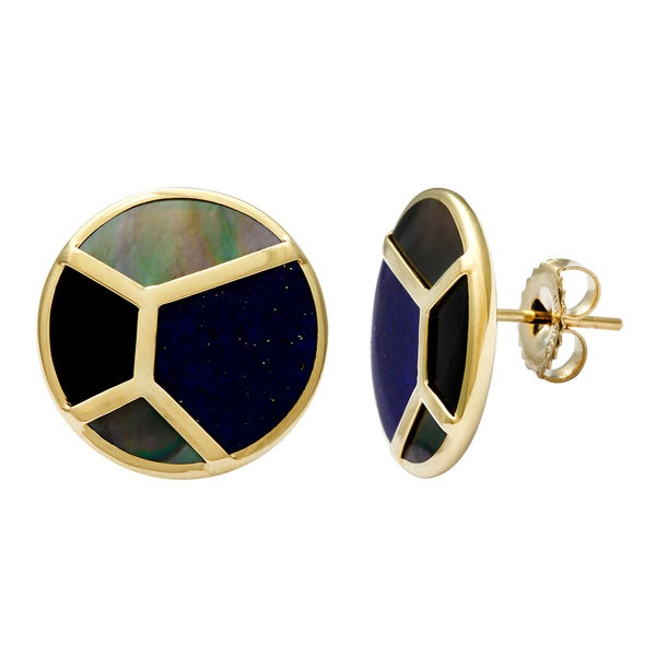 Pre-owned Ippolita Polished Rock Candy Mosaic Stud Earrings