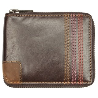 Brown Topstitched Leather Bi-fold Zip Wallet