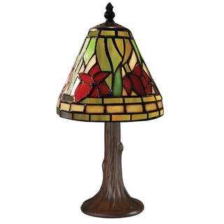 Z-Lite Mini Multicolor Tiffany Table Lamp with Chestnut Brown Finish