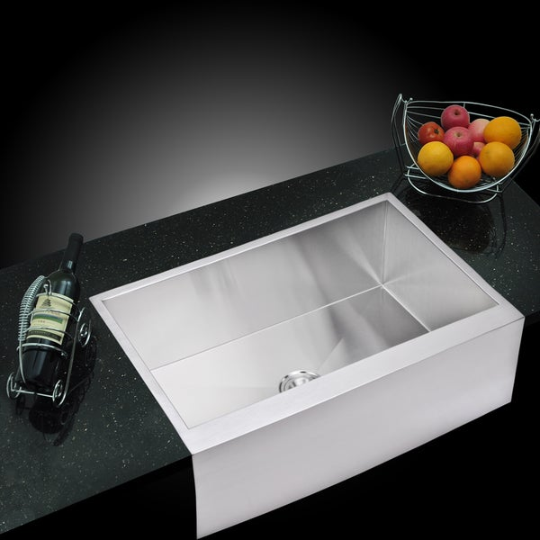 Water Creation 33x21-inch Stainless Steel Apron Front Kitchen Sink With Strainer