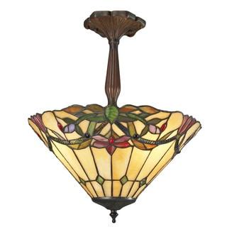 Z-Lite 3-light Multicolor Tiffany Shade Semi Flush Mount Light